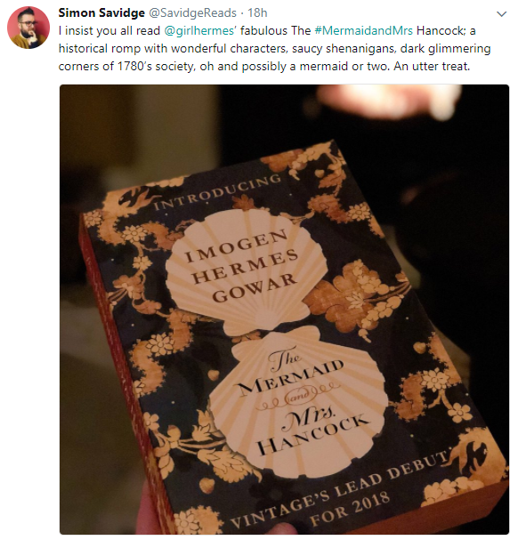 SavidgeReads' Tweet About The Mermaid & Mrs Hancock