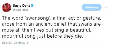 Susie Dent Swansong Tweet